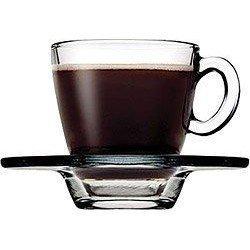 PASABAHCE AQUA Чашка с блюдцем Набор 6х72 мл 95756