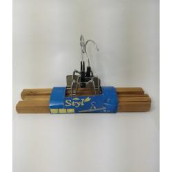 Rozenbal Вешалка 30 см деревяная для брюк с клипсами набор 3шт - 904300